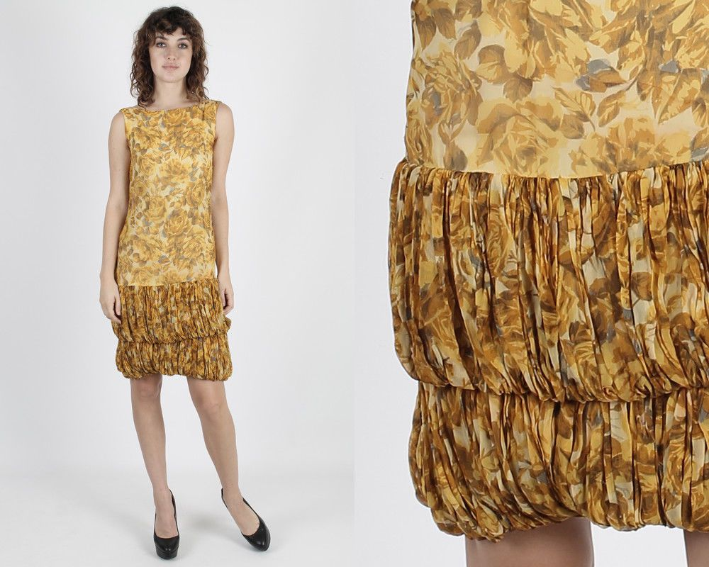 Vintage s yellow floral dress pinup wiggle deco flapper cocktail