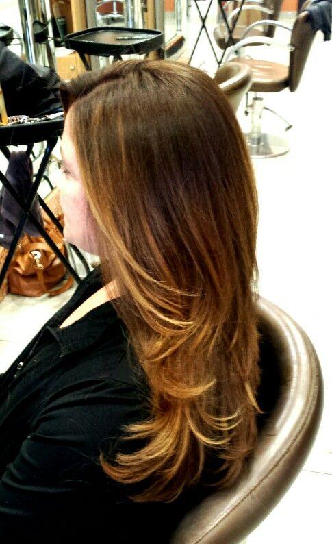 Balayage Hair stylist: Kate Edwards Green tangerine Spa and Salon