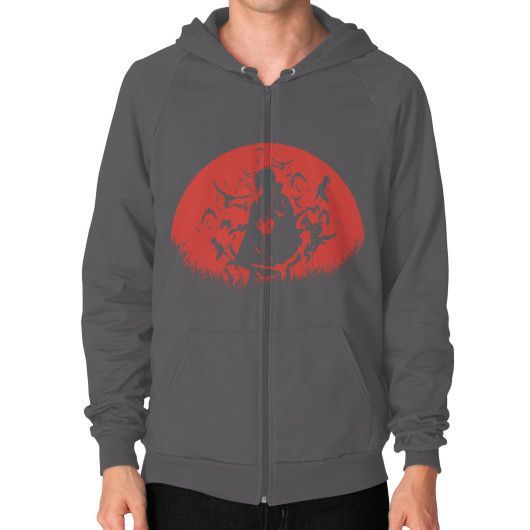 Red Moon Spy Zip Hoodie (on man) Shirt