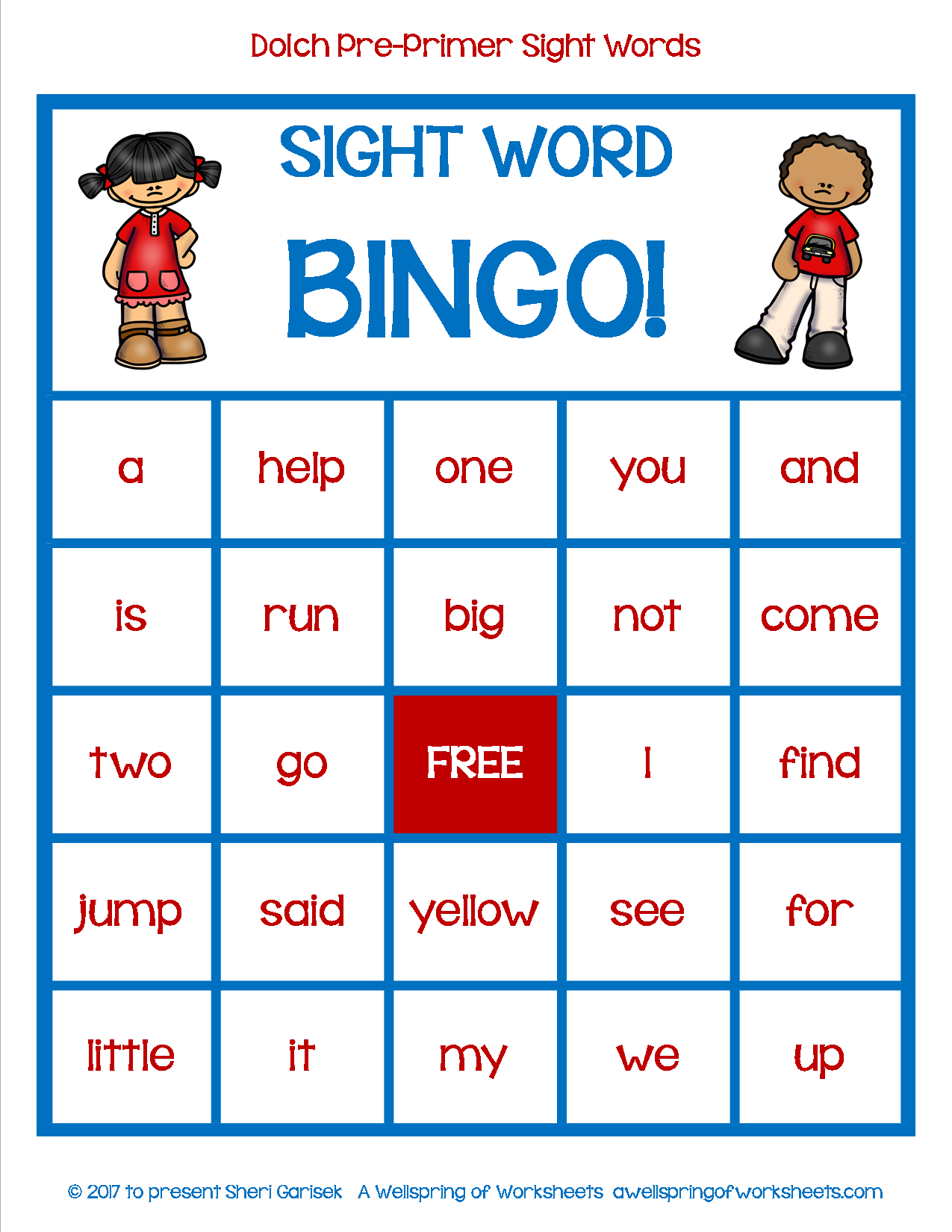 Dolch Pre-Primer Sight Word Game - Bingo