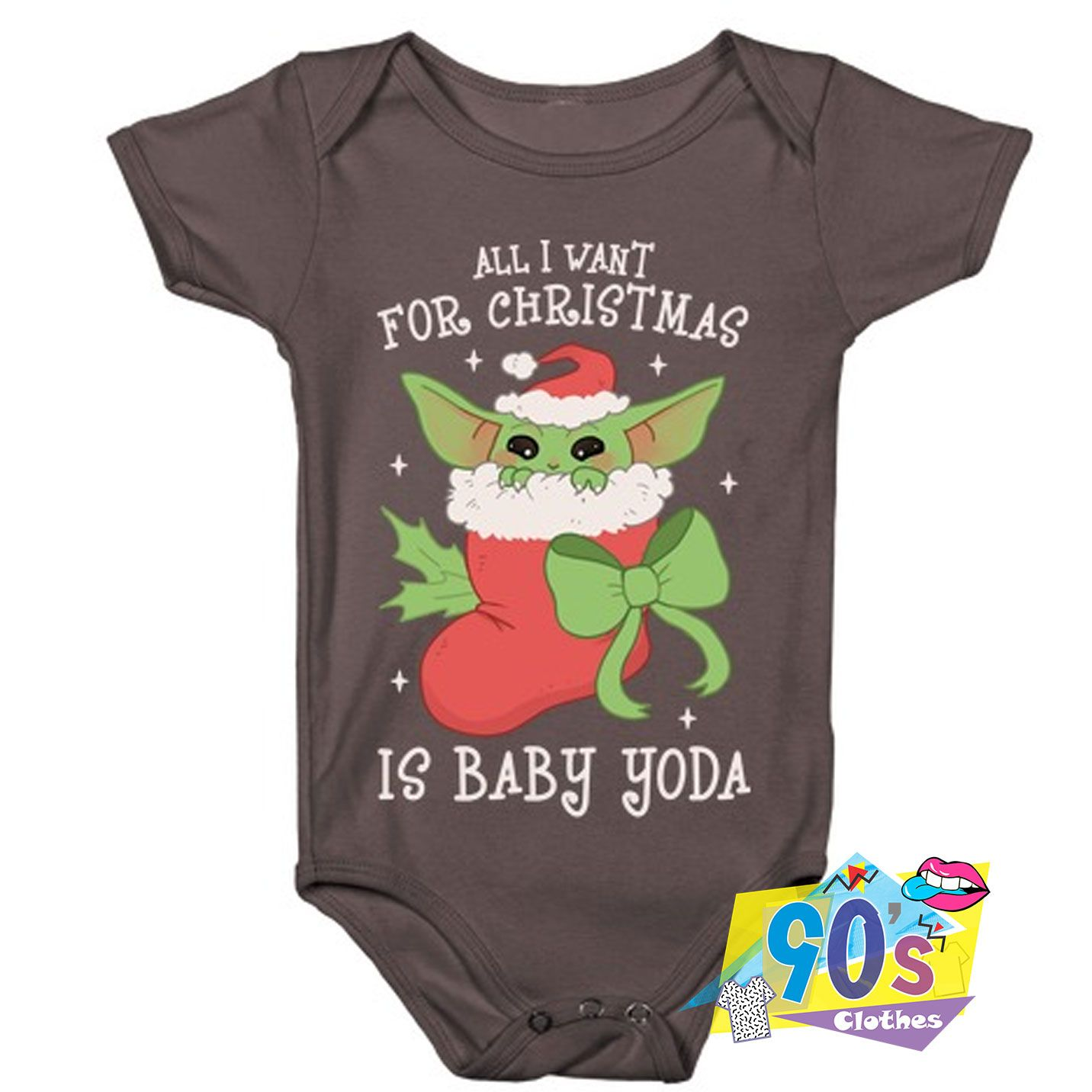 All I Want For Christmas Is Baby Yoda Baby Onesie In 2020 Baby Onesies Cotton Baby Clothes Unisex Kids Clothes