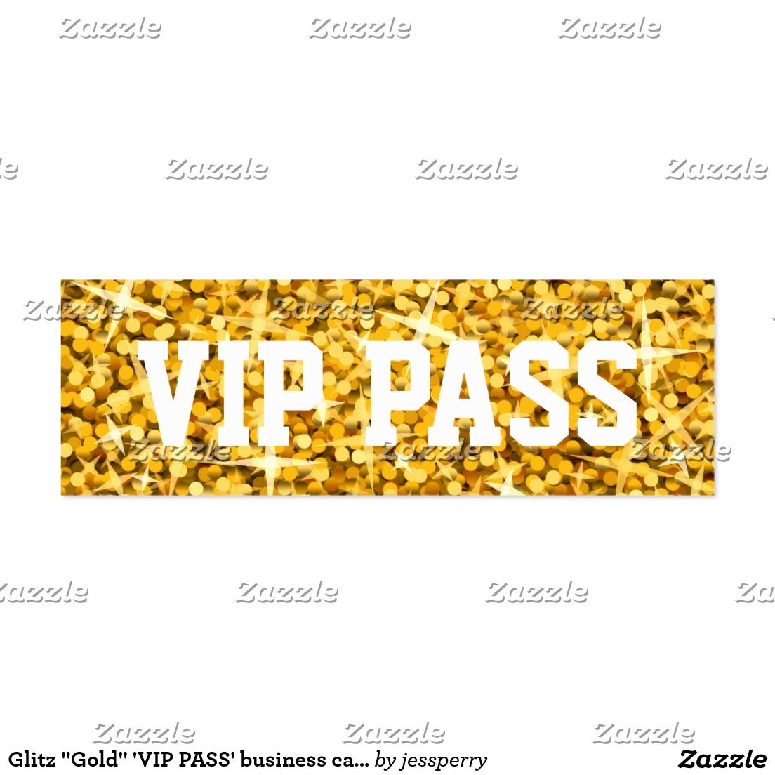 Glitz Gold Vip Pass Business Card Skinny Vip Pass Vip And