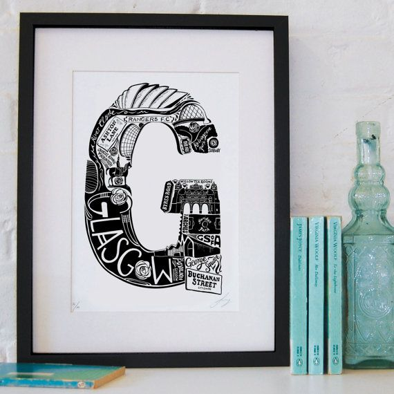 Best of Glasgow Screenprint by LucyLovesThis on Etsy, £32.00