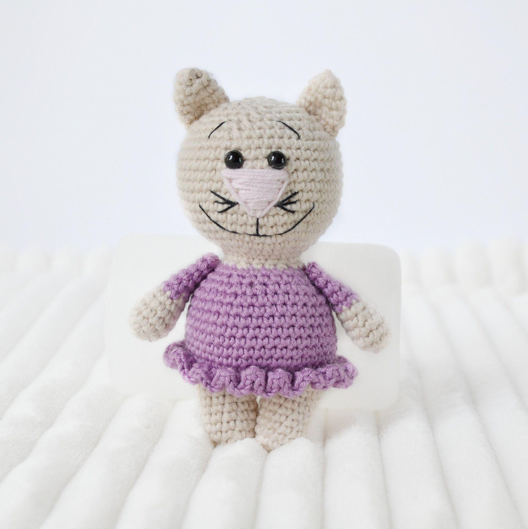 Crochet cat with purple dress Amigurumi Handmade Crochet