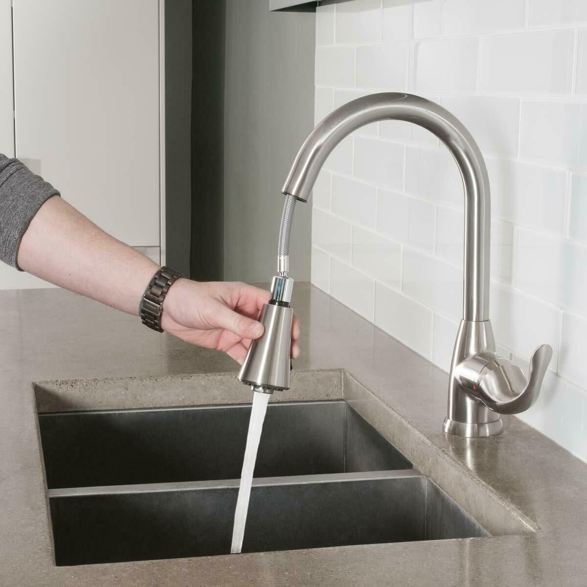 Brushed Nickel Kitchen Sink Faucet Pull Down Sprayer With 10