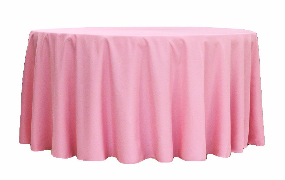 Light Pink 90 Inch Round Tablecloths Polyester 132