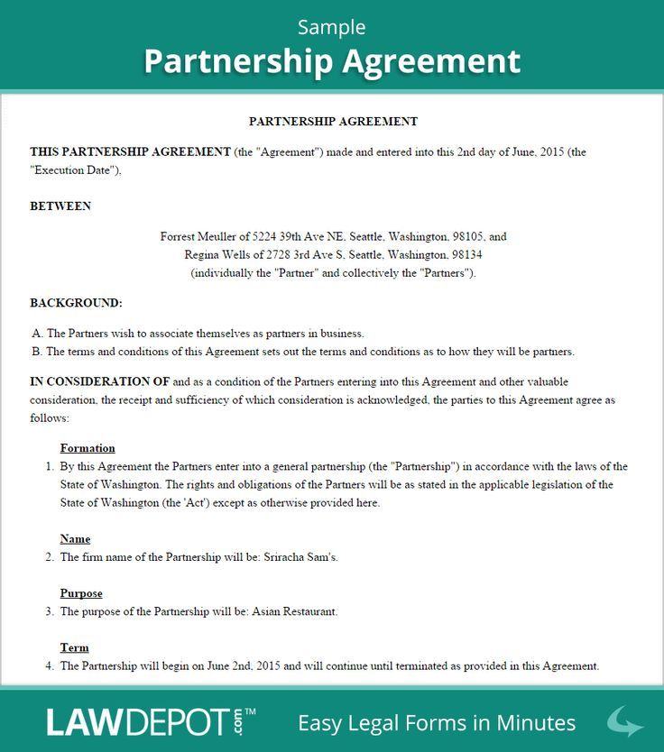 Partnership Agreement Sample #infographic #bitcoin #crypto - mutual agreement format