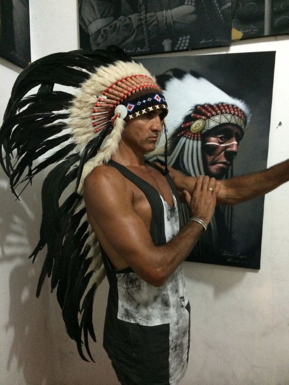Big chief long black feather  by wildorchidaustralia on Etsy, $145.00