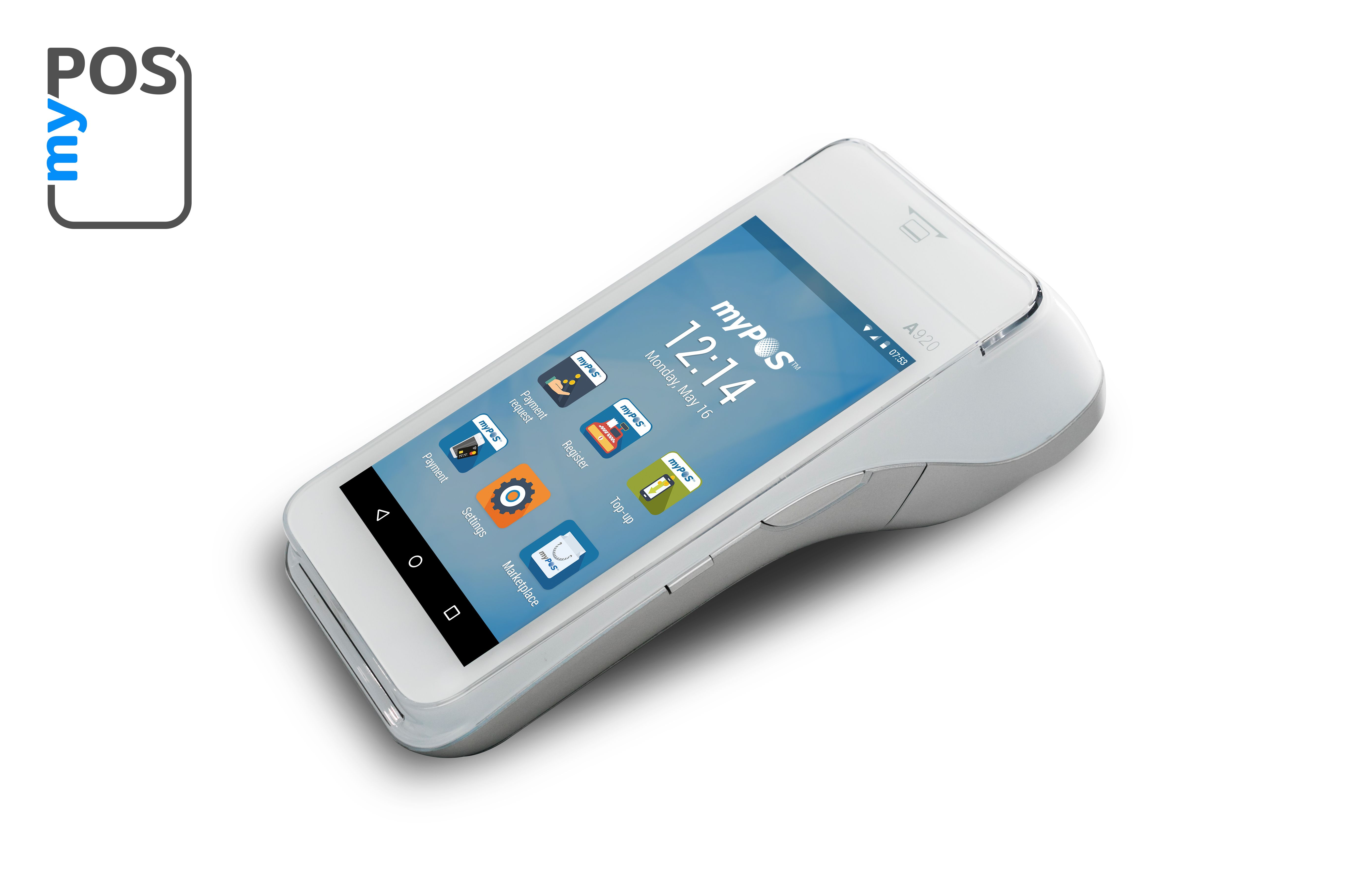 Android Based Point Of Sale Machine With A Cash Register Mypos Smart Credit Card Terminal Smart Smart Buy