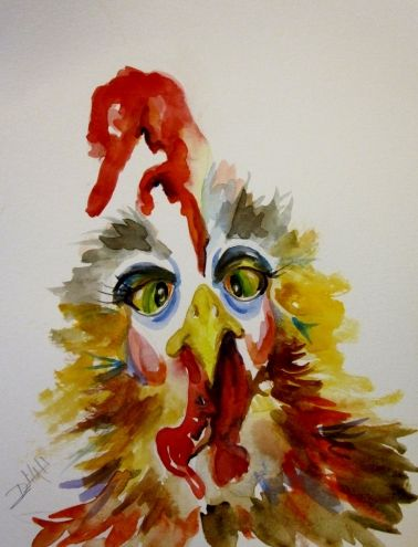Cross Eyed Rooster, painting by artist Delilah Smith