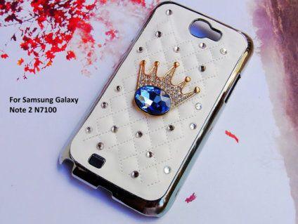 Samsung Galaxy Note N7100 caso 2, Royal Crown caso de Samsung del diamante de Bling del Rhinestone, cuero de la caja del teléfono Samsung piel de la cubierta dura linda