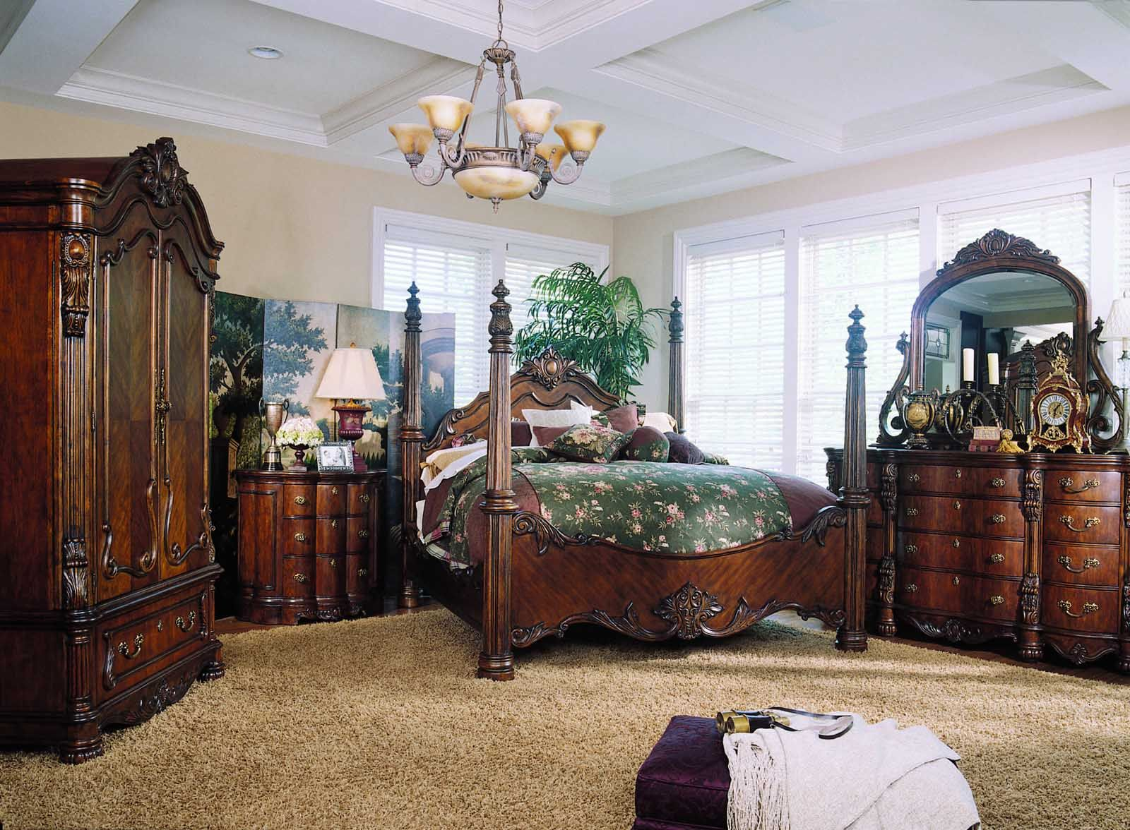 Pulaski edwardian 4 piece poster bedroom set sale great - Four poster bedroom sets for sale ...
