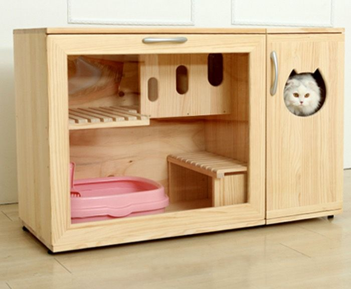diy painted kitty kitchen design cabinet cat hides cabinets furniture box hometalk litter ugly