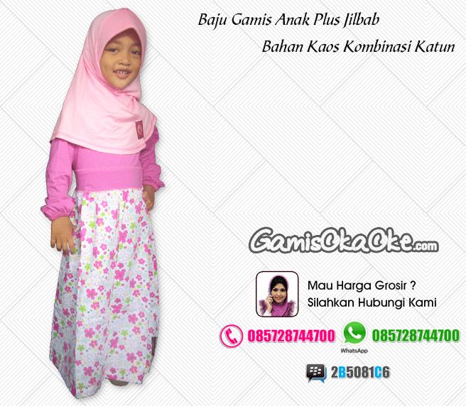 Baju Muslim Anak Perempuan Harga Murah Dengan Bahan Kaos Katun