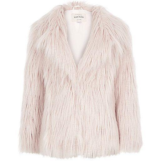 Girls pink Mongolian faux-fur coat - jackets - coats / jackets - girls