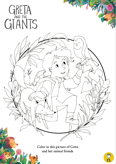 Greta And The Giants Coloring Sheet Coloring Sheets Color Animals Friends