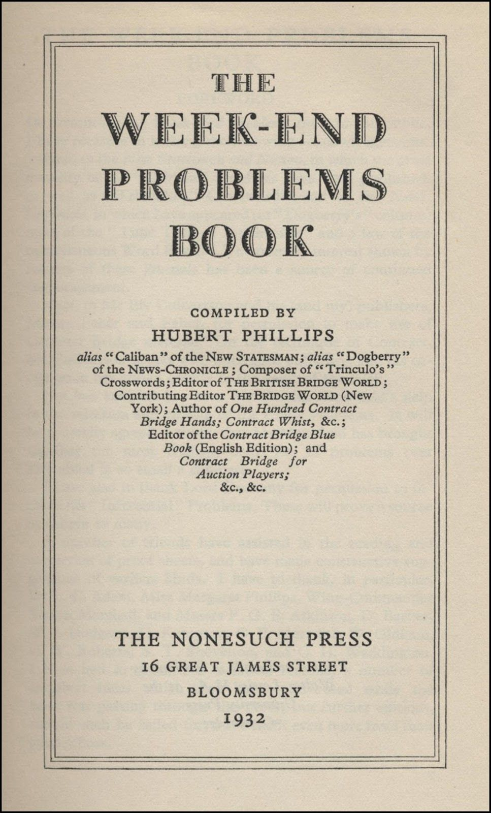 The Week-End Problem Book 1932