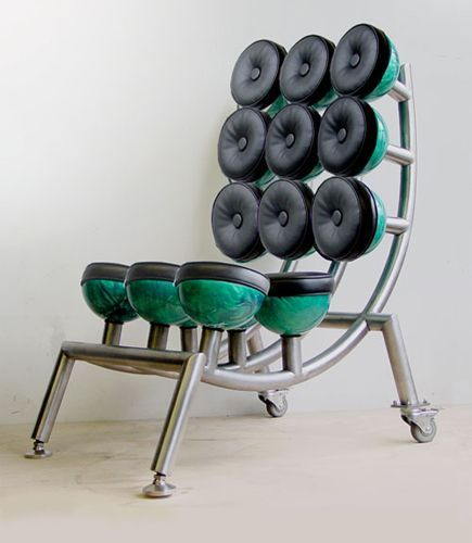 My chair of upholstered bowling balls and steel. Bowling Ball Chair