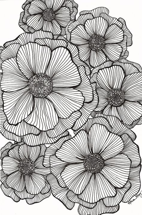 Pin By Terri Mcwilliams On Discharge Print Flower Sketches Flower Drawing Design Flower Drawing