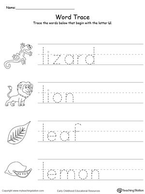 Trace Words That Begin With Letter Sound L Alphabet Worksheets Preschool Tracing Worksheets Preschool Learning Letters