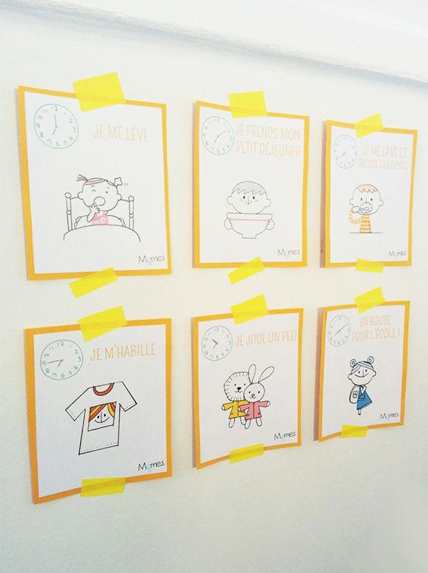 cartes routines du matin et du soir la creche nounou et le matin. Black Bedroom Furniture Sets. Home Design Ideas
