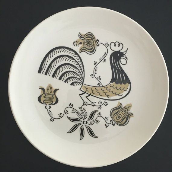 Good Morning By Royal China Dinner Plate Made In Usa Featuring A Stylized Black Rooster With Pale Gold Flowers Plate Rooster Plates Black Rooster Sell On Etsy
