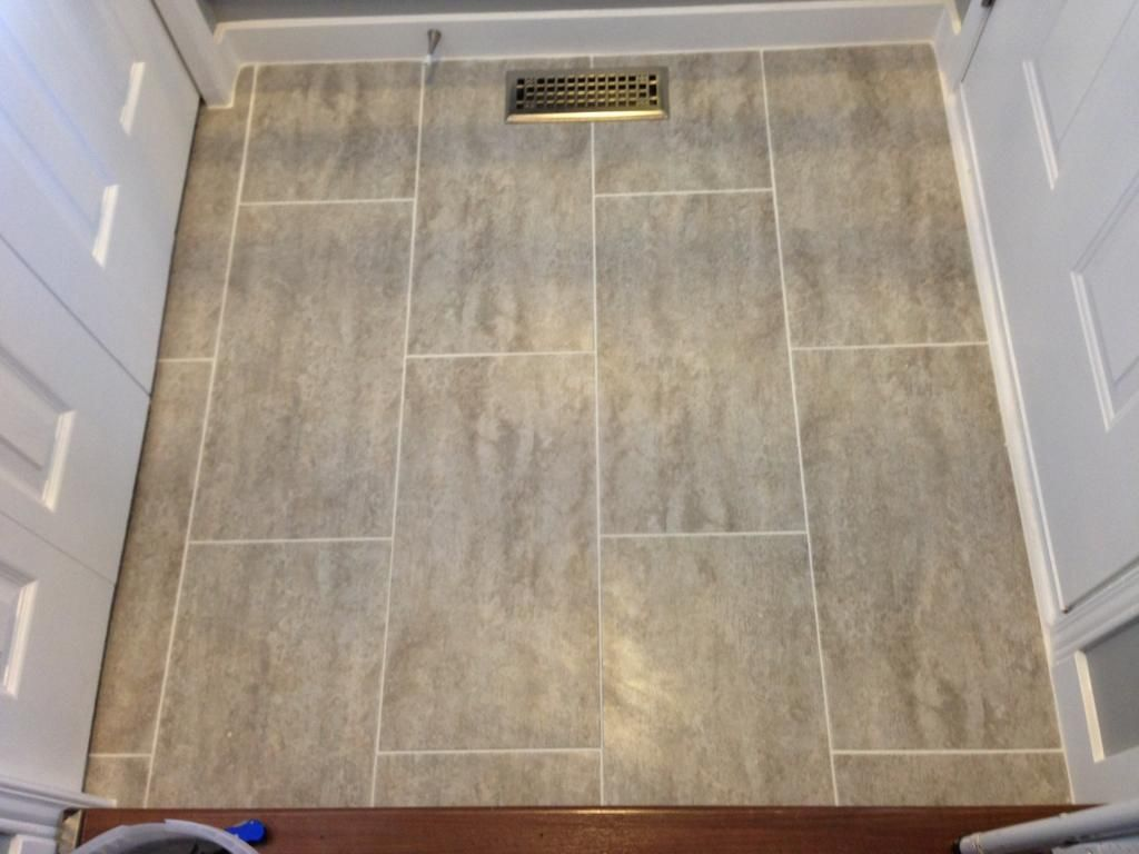 Traffic master ceramica vinyl groutable tile in natural concrete modern groutable vinyl tile and bathroom floor tile complete jameslax Images