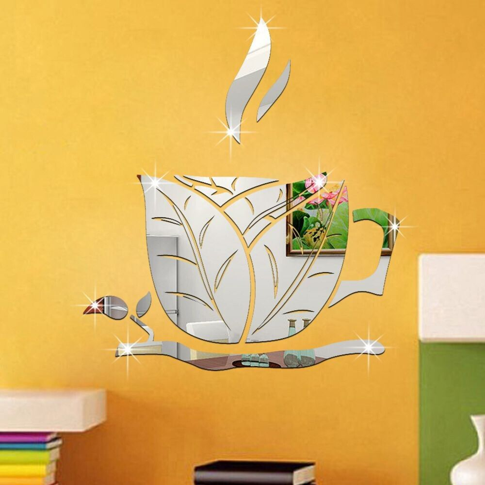 Acrylic DIY Cup Pattern Wall Decal 3D modern mirror mug wall ...