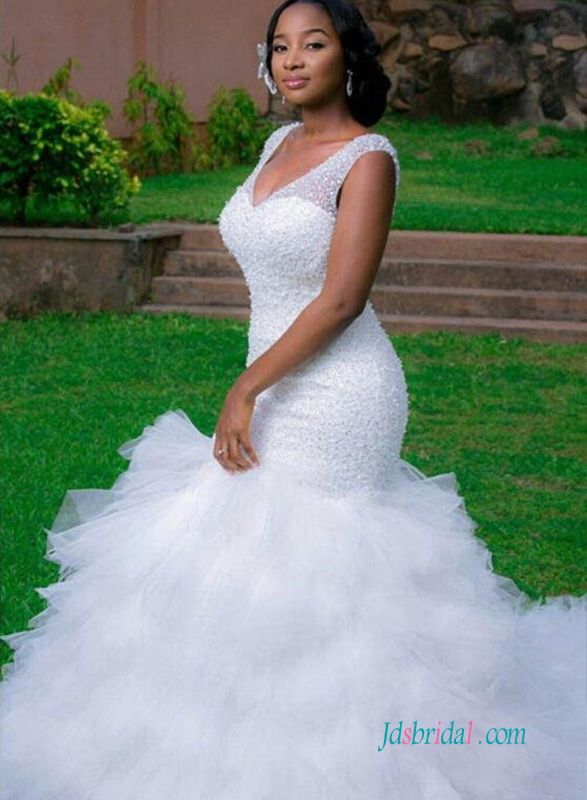 Sexy curvy beading mermaid wedding dress with ruffles bottom ... d2ca38003d7d