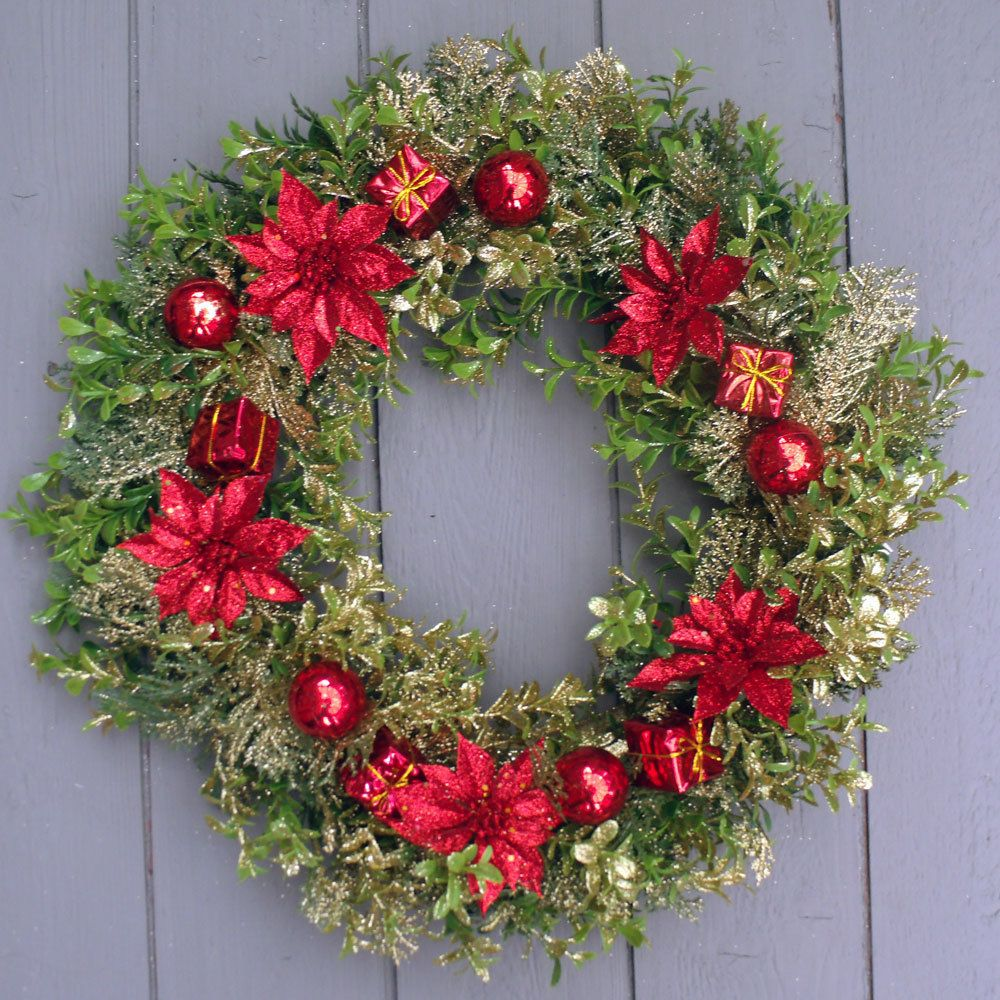 Artificial 16 inch Red Poinsettia Christmas Wreath
