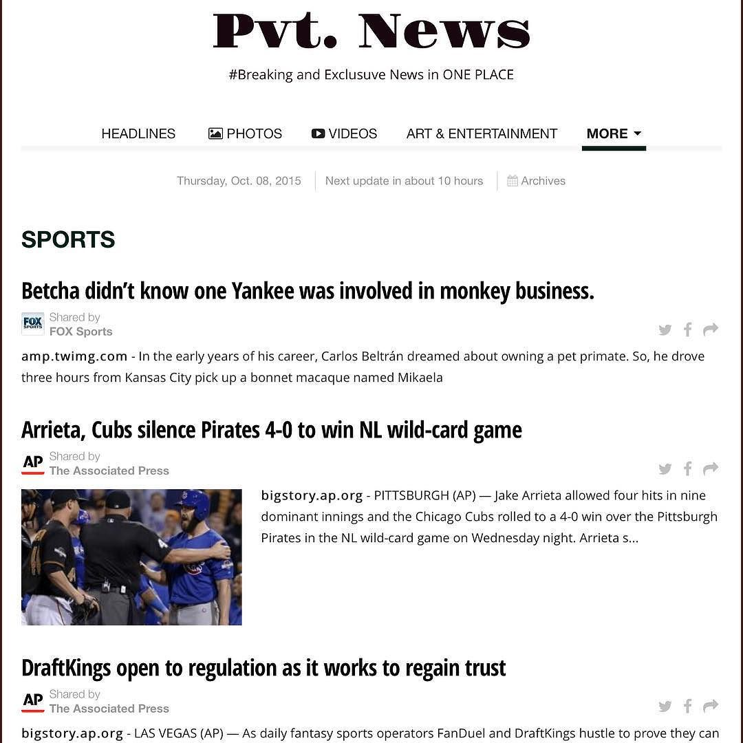 #Sports Pvt. News: Have u read it TODAY?  t.co/8zY1RzwmVj or Google #PvtNews