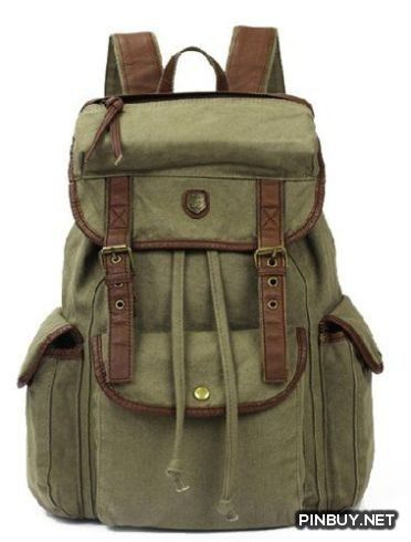 14ec870bcb4 Bug Unisex-Adult Vintage Casual Canvas Backpack Bookbag Rucksack Hiking Bag  Satchel Army Green Canvas Bug - PinBuy