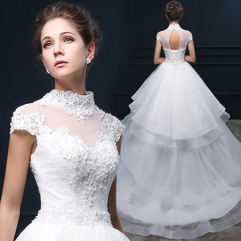 أزياء مطرز الرقبة العالية كم قصير الأبيض ألف خط فستان الزفاف فساتين زفاف٢٠١٥ 5 Dresses A Line Wedding Dress Wedding Dresses