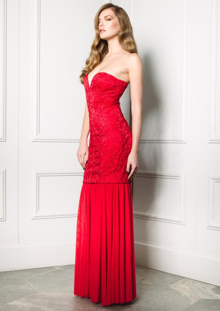 Party Dress Style Red Lace Layered Strapless Maxi Dress With Dramatic Sweetheart Neckline And Detachable Mesh Skirt Cocktail Evening Party Dress Party Dress On [ 1200 x 849 Pixel ]