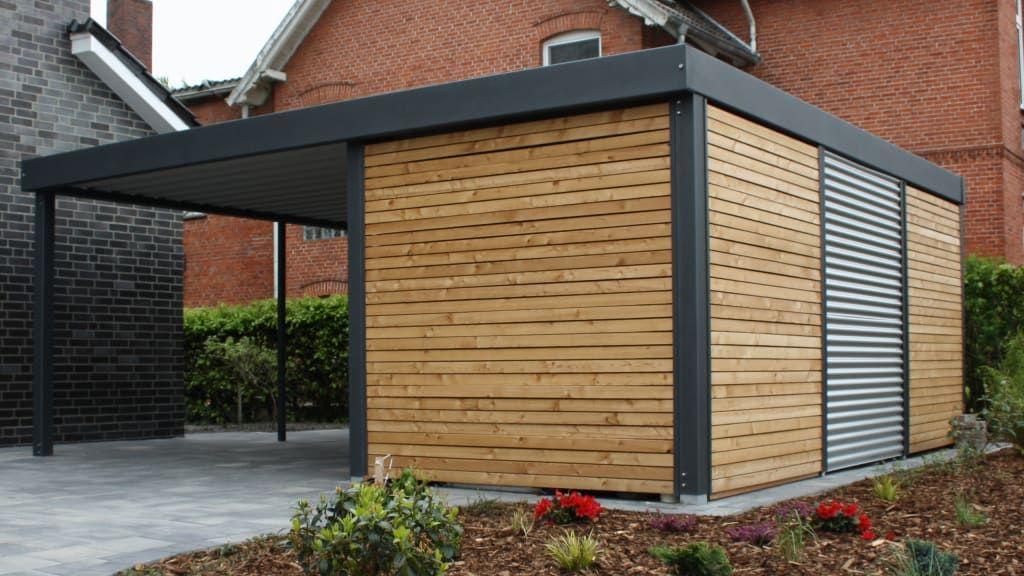 Finde Moderne Garage Amp Schuppen Designs In Grau Metallcarport Entdecke Die Schonsten Bilder Zur Inspiration Moderne Garage Garage Dekorieren Stahlcarport