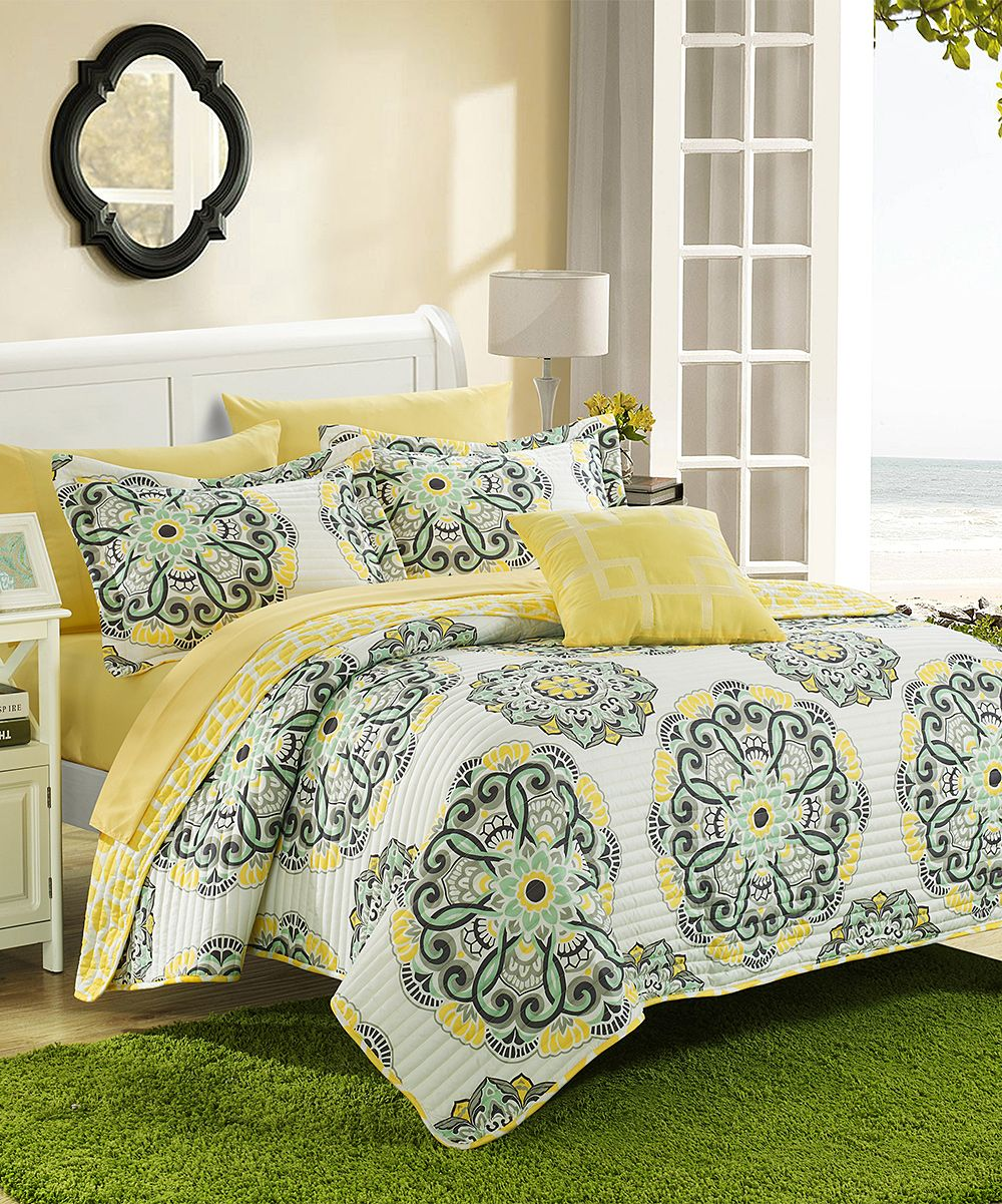 Gray Palladium Quilt Set : Yellow mirador supersoft quilt set zulilyfinds decorate