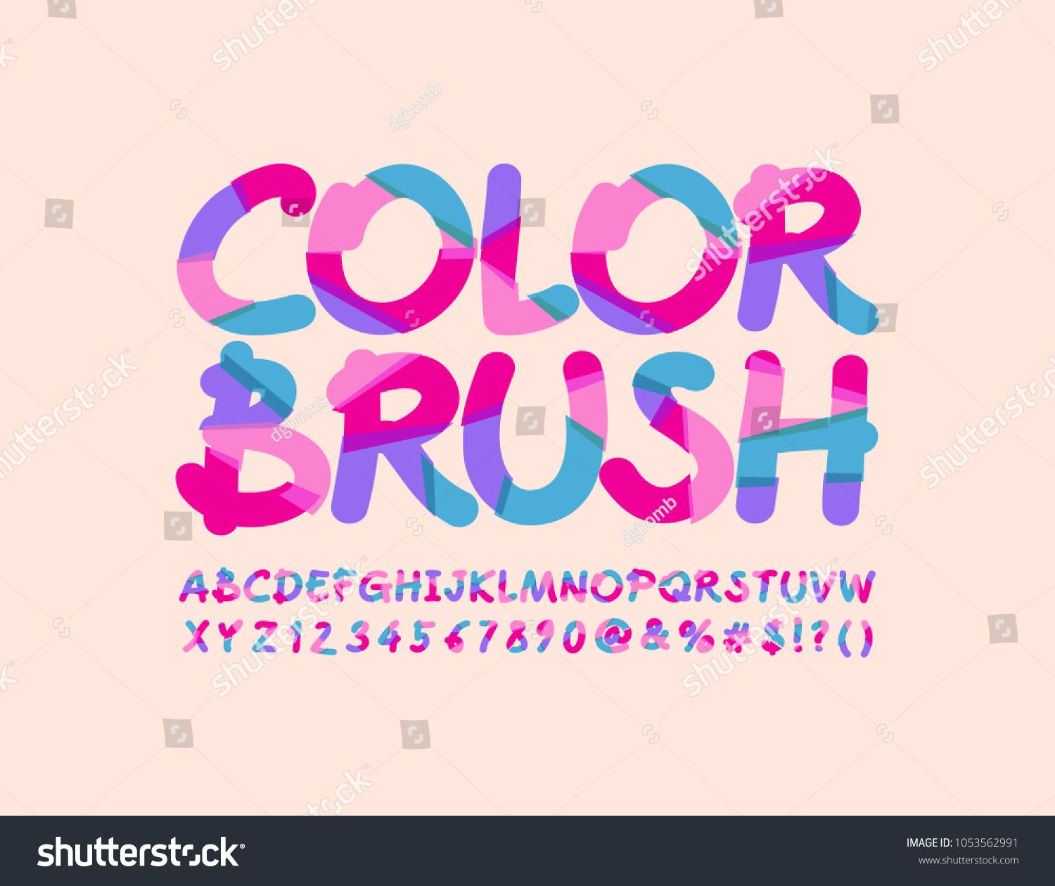 Vector Artistic Design banner Color Brush. Bright sliced Font ...