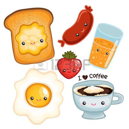 Linda Comida De Desayuno Tostadas Huevos Cafe Fresa Jugo Y Salchichas Desayunos Tostadas Tostadas Dibujos Animados Kawaii