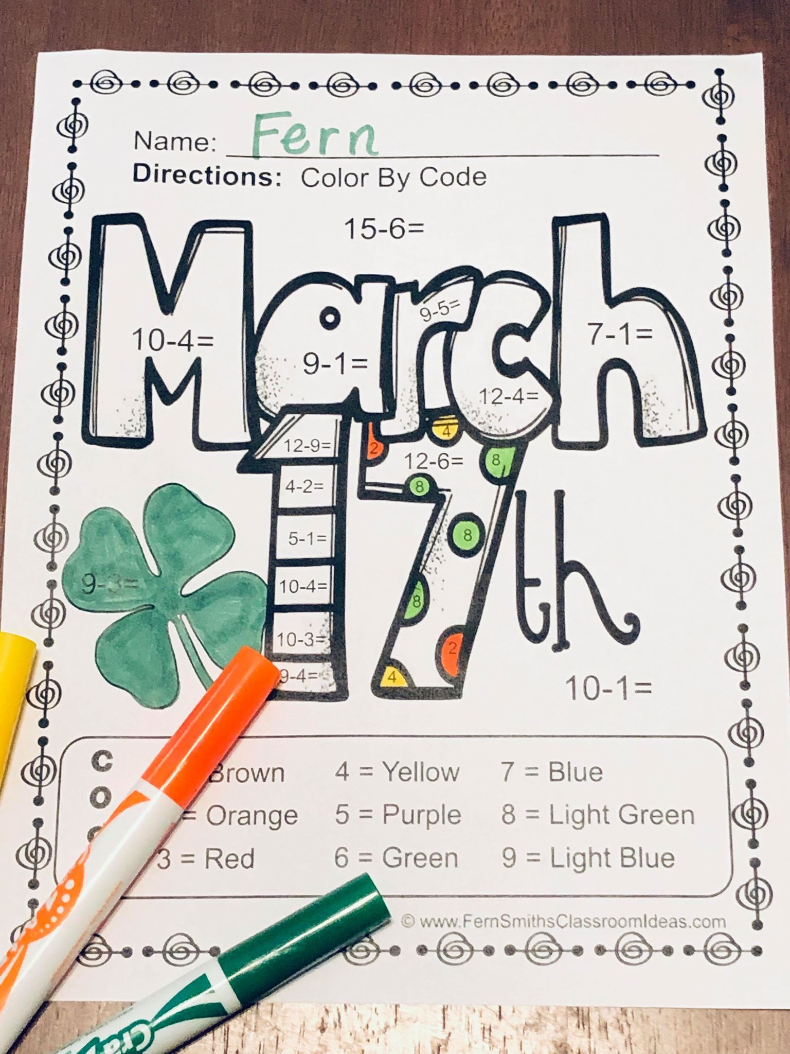 St Patrick S Day Color By Number Subtraction With Images