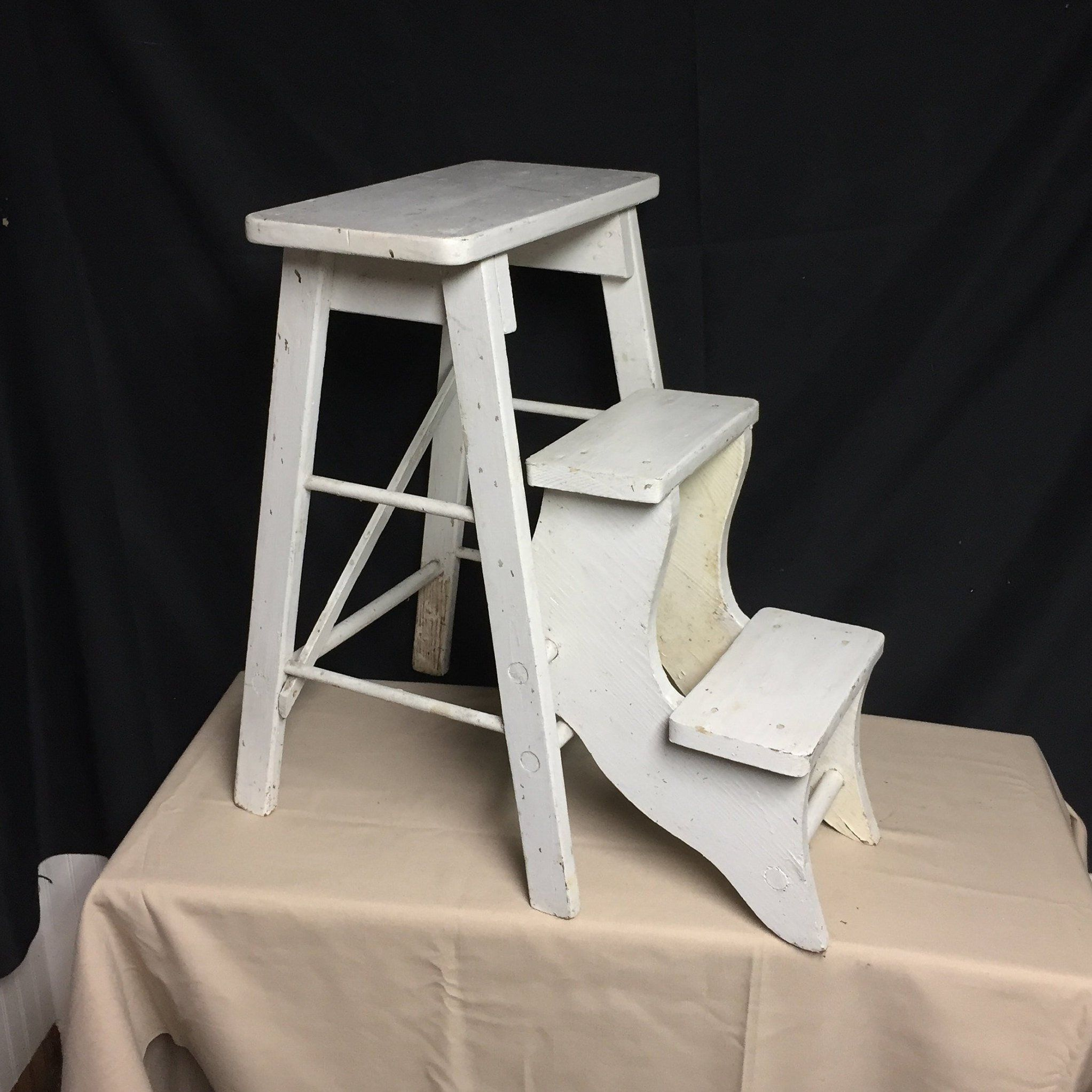 Outstanding Unique Vintage White Wooden Step Stool With Folding Steps Short Links Chair Design For Home Short Linksinfo