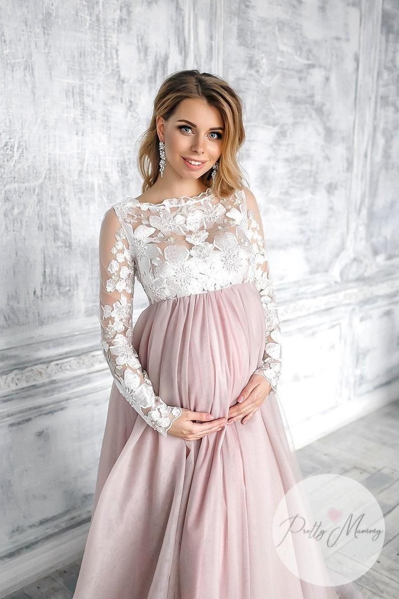 Pin on Long Lace Maternity Dress