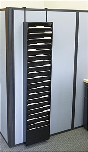 Hanging Wall Files 20-tiered wall file holder, fits letter sizes, steel - black