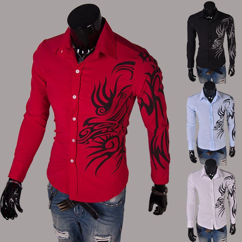 39c5e52abef Click to Buy    2017 Spring Fashion New Long Sleeve Dragon Print Shirts