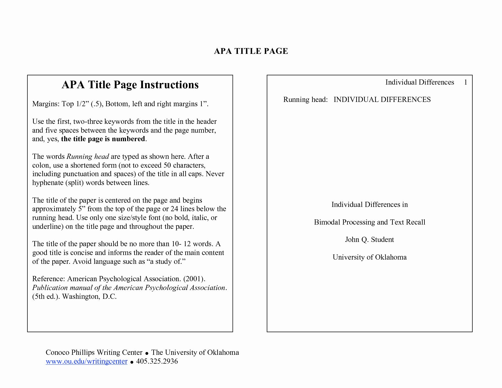 apa format research paper cover page