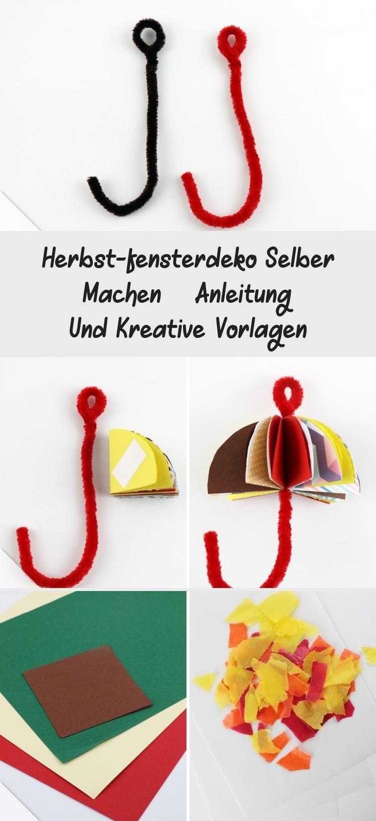 Anleitung - Herbst-Fensterdeko basteln - Schirm - Talu.de #bastelnmitkindernSchule #bastelnmitkindernPerlen #bastelnmitkindernLaternen #Drachenbastelnmitkindern #bastelnmitkindernVatertag #herbstfensterdekokinder