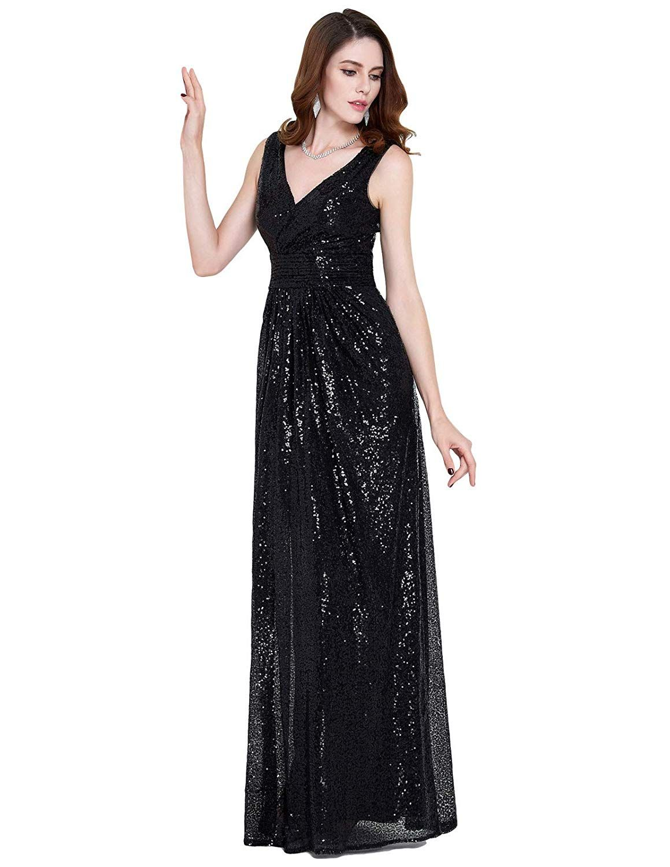 c474617527c9 Kate Kasin Women Sequin Bridesmaid Dress Sleeveless Maxi Evening Prom  Dresses at Amazon Women's Clothing store