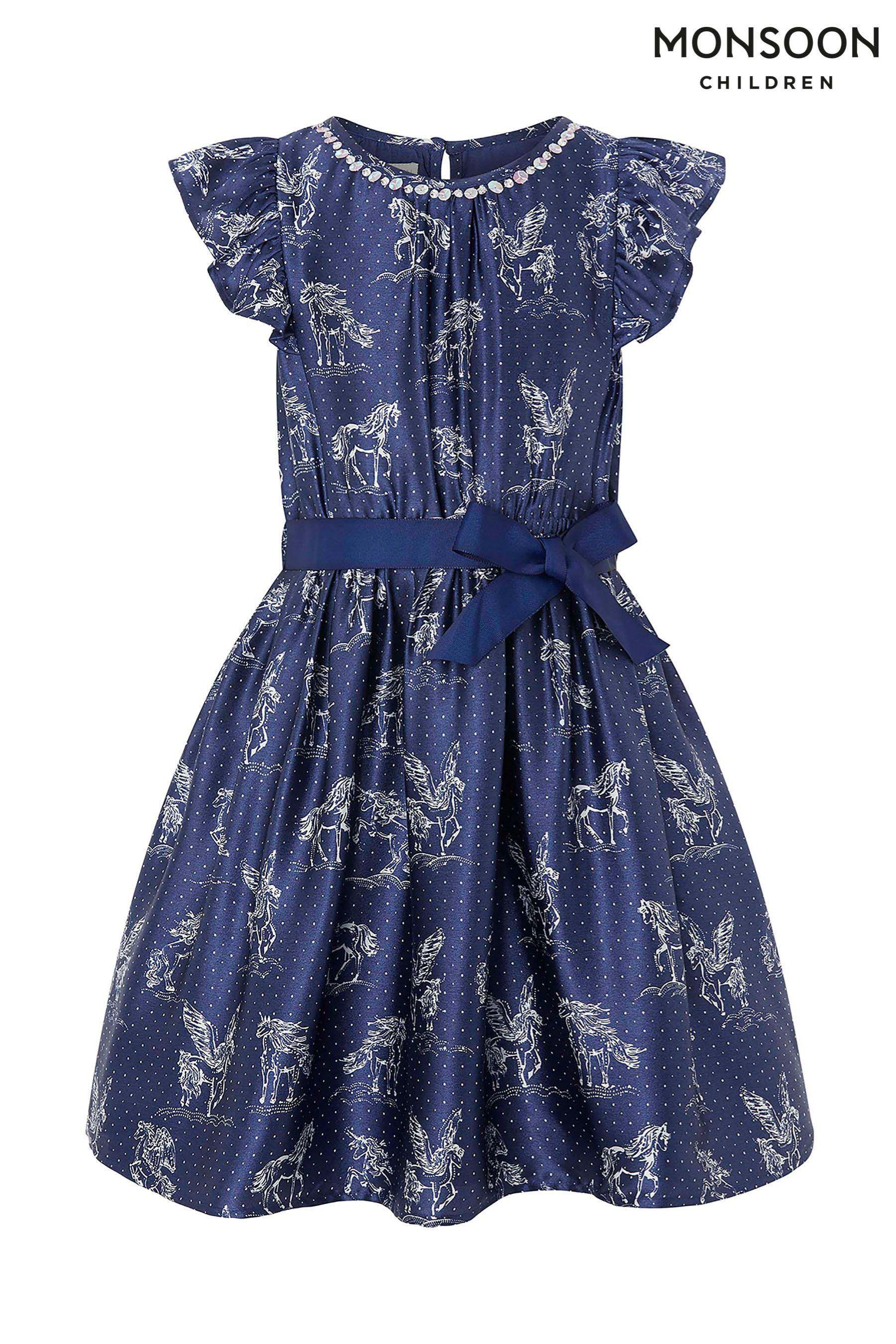 1cd5e9ecce51 Girls Monsoon Evalyn Unicorn Satin Dress - Blue