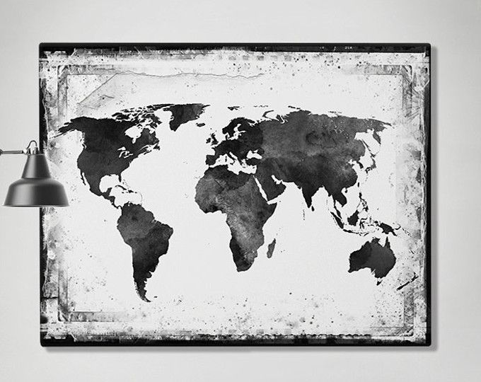 world map poster world map art watercolor print world map wall art travel map large world. Black Bedroom Furniture Sets. Home Design Ideas