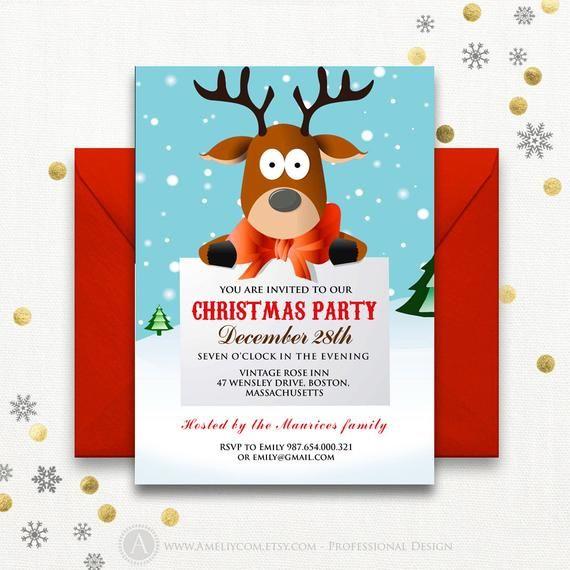 Funny Christmas Party Invitations Printable Reindeer Kids Deer Holiday