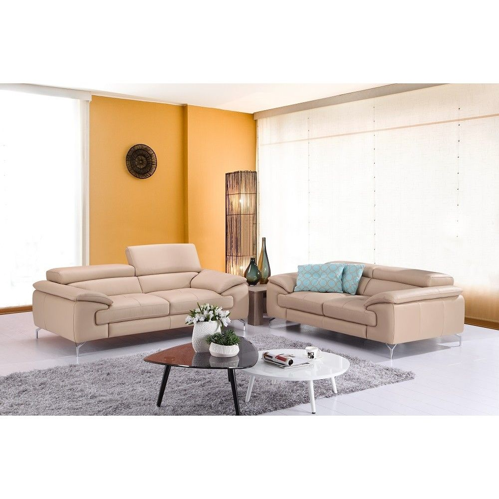 Modern Leather Living Room Set A973 Modern Premium Leather Sofa Set In Peanut By Jm Sofas By